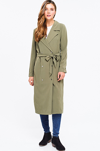 $20 - Cute cheap olive green knit white sherpa fleece lined draped collar open front vest top - olive green double breasted button up tie waist duster trench coat