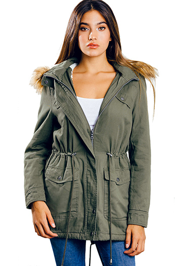 $25 - Cute cheap black quilted faux fur lined asymmetrical zip up puffer bomber jacket - olive green drawstring tie waist hooded pocketed puffer anorak coat jacket