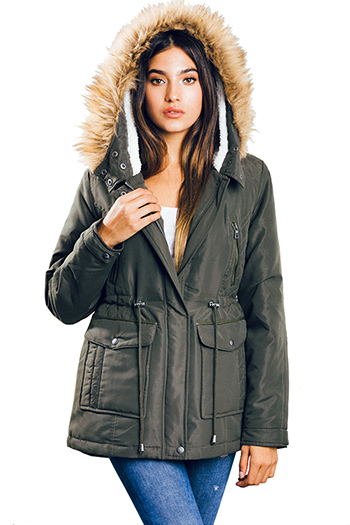 $25 - Cute cheap dark olive green quilted faux fur lined asymmetrical zip up puffer bomber jacket - olive green drawstring waist zip up pocketed hooded quilted puffer anorak trench coat jacket