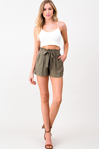 $9.50 - Cute cheap white denim a line high waisted fitted pocketed boho flare overalls jumpsuit - Olive green elastic tie high waisted pocketed resort boho paperbag summer shorts