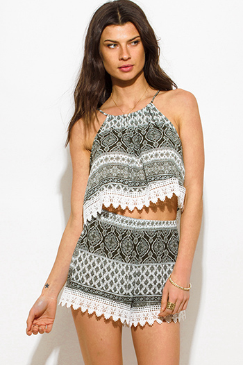 $10 - Cute cheap crochet romper - olive green ethnic print crochet lace trim boho lounge summer shorts