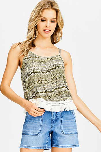 $10 - Cute cheap open back evening jumpsuit - olive green ethnic print racer back fringe trim boho crop tank top