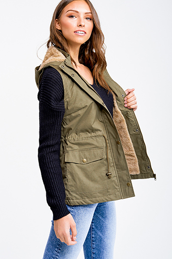$25 - Cute cheap khaki beige faux fur fleece long sleeve button up pocketed oversized teddy coat jacket - Olive green faux fur fleece lined zip up hooded anorak trench vest jacket