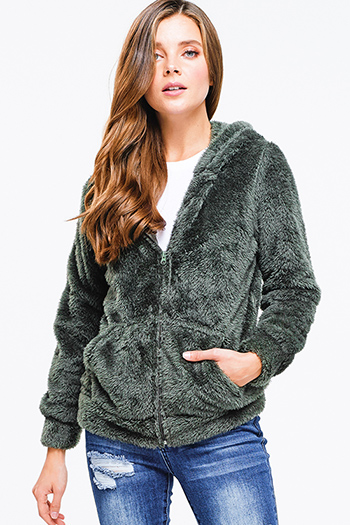 $12 - Cute cheap charcoal gray denim sweater knit long sleeve crop button up jean jacket top - Olive green faux fur fuzzy fleece long sleeve zip up pocketed hooded teddy jacket