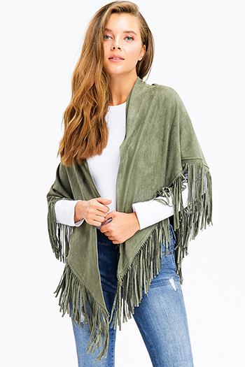 $13 - Cute cheap olive green knit white sherpa fleece lined draped collar open front vest top - olive green faux suede fringe trim asymmetric hem boho cape shawl top