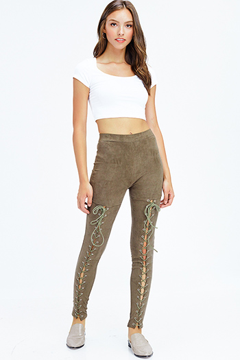 $13 - Cute cheap open back fitted sexy party catsuit - olive green faux suede high waisted laceup zipper back leggings skinny pants