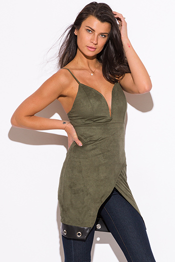 $15 - Cute cheap v neck fringe top - olive green faux suede leather trim low v neck sweetheart fitted sexy party tunic top