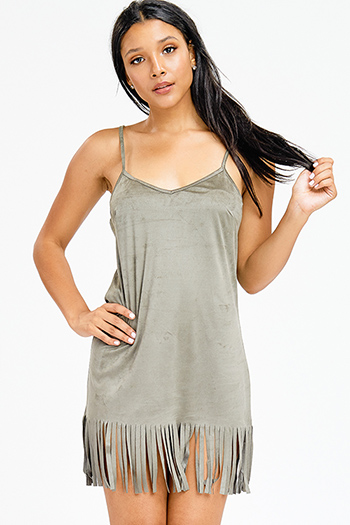 $9 - Cute cheap off shoulder slit dress - olive green faux suede sleeveless fringe hem shift sexy club mini dress