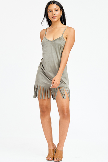 $9 - Cute cheap backless boho sun dress - olive green faux suede sleeveless fringe hem shift sexy club mini dress