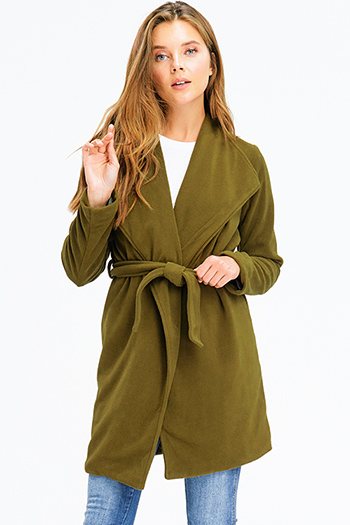 $20 - Cute cheap olive green denim mid rise distressed frayed double button skinny jeans - olive green fleece draped collar tie waist belted coat jacket