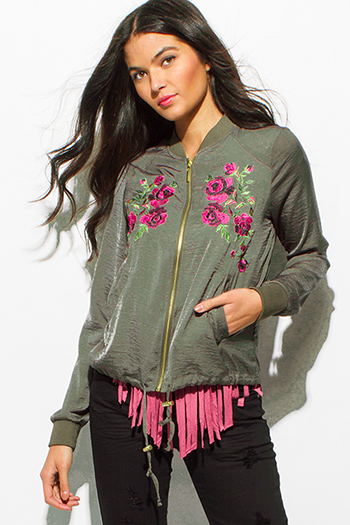 $15 - Cute cheap floral chiffon top - olive green floral embroidered long sleeve pocketed zip up bomber jacket top