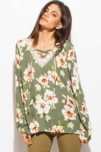 $15 - Cute cheap print top - olive green floral print crochet v neck laceup tie front long sleeve boho blouse top
