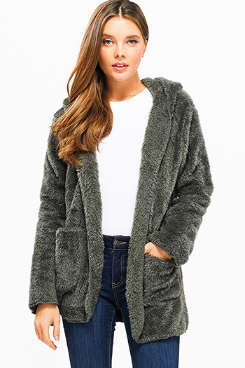 $25 - Cute cheap Olive green fuzzy fleece long sleeve open front pocketed hooded cardigan jacket