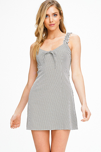 $10 - Cute cheap ribbed dress - Olive green gingham print shirred sleeveless boho resort a line mini sun dress