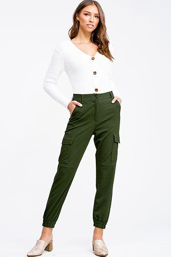 $20 - Cute cheap career wear - Olive green high waisted cargo pocketed knit jogger pants