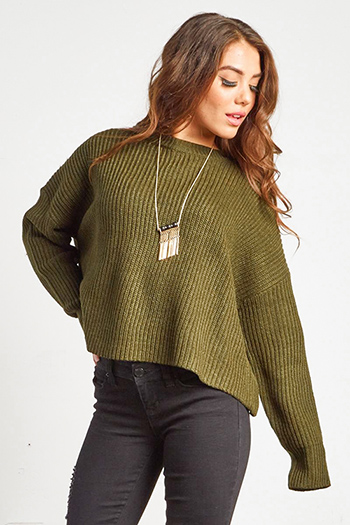 $20 - Cute cheap stripe asymmetrical boho top - olive green knit long sleeve boho cropped boxy sweater top