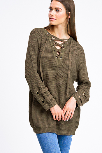 $30 - Cute cheap lime mustard green knit dolman sleeve ruched back boho shrug cardigan top - Olive green knit long sleeve eyelet detail caged laceup v neck boho sweater top