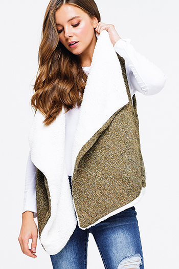 $25 - Cute cheap green pocketed coat - olive green knit white sherpa fleece lined draped collar open front vest top