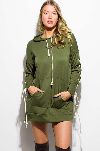 $15 - Cute cheap peplum mini dress - olive green laceup long sleeve hooded pocketed sweatshirt tunic top mini dress