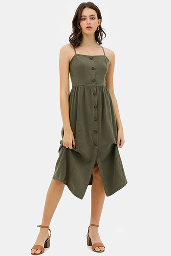 $30 - Cute cheap v neck sun dress - Olive green linen sleeveless button trim boho midi sun dress