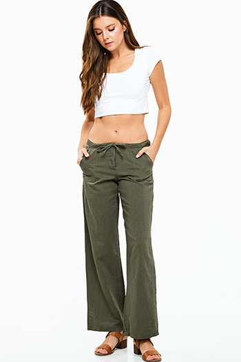 $12 - Cute cheap olive cargo green mid rise double side seam fitted skinny pants - Olive green linen wide leg pocketed culotte boho summer resort pants