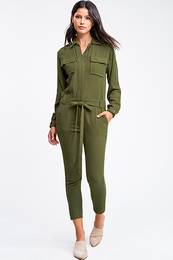 $15 - Cute cheap blue washed denim cuffed short sleeve button up pocketed mini shirt dress - Olive green long sleeve button up belted tapered leg coverall cargo utility jumpsuit