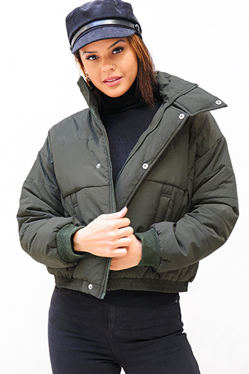 $25 - Cute cheap olive green zip up pocketed button trim hooded puffer coat jacket - Olive green long sleeve button up cropped puffer bomber down jacket