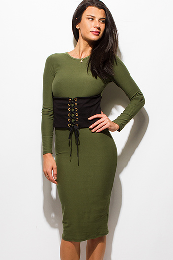 $15 - Cute cheap draped sexy club dress - olive green long sleeve corset laceup bodycon fitted pencil club midi dress