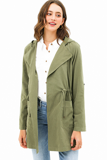 $25 - Cute cheap plum wine tencel long sleeve drawstring waisted button up zip up hooded anorak trench coat jacket - Olive green long sleeve drawstring waist open front hooded trench coat jacket top