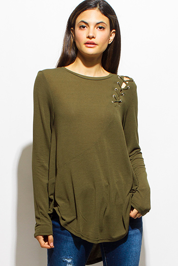 $15 - Cute cheap chiffon v neck sheer top - olive green long sleeve laceup shoulder boat neck tunic top