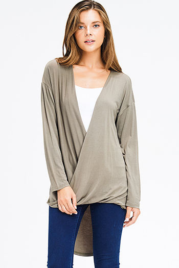 $10 - Cute cheap taupe beige tie dye rayon gauze long bell sleeve button up boho blouse top - olive green long sleeve surplice open twist front high low hem boho knit top
