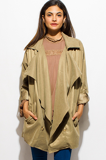 $20 - Cute cheap career wear - olive green long sleeve pocketed buttoned open front oversized waterfall trench coat jacket