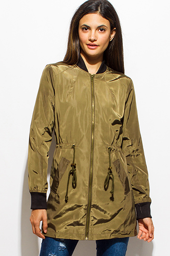 $20 - Cute cheap black zip up stripe banded crop bomber jacket - olive green long sleeve tie waist zip up bomber trench coat jacket