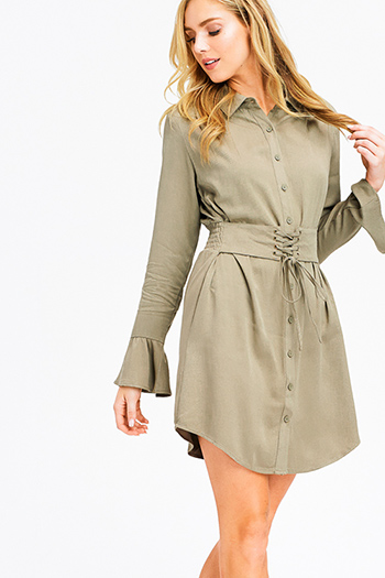 $15 - Cute cheap print boho crochet dress - olive green long trumpet sleeve button up corset belted mini shirt dress