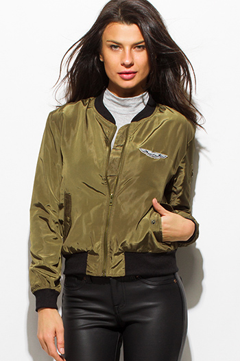 $20 - Cute cheap career wear - olive green military zip up pocketed patch embroidered puff bomber jacket