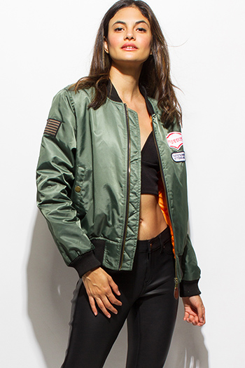 $25 - Cute cheap olive green military zip up pocketed patch embroidered puff bomber jacket