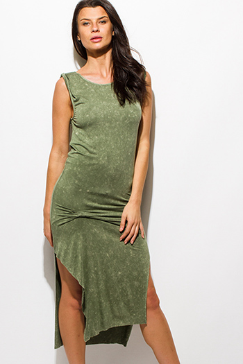 $15 - Cute cheap backless fitted midi dress - olive green mineral acid wash sleeveless knotted side slit midi dress