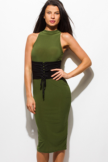 $15 - Cute cheap draped open back dress - olive green mock neck sleeveless corset back slit bodycon fitted sexy club midi dress