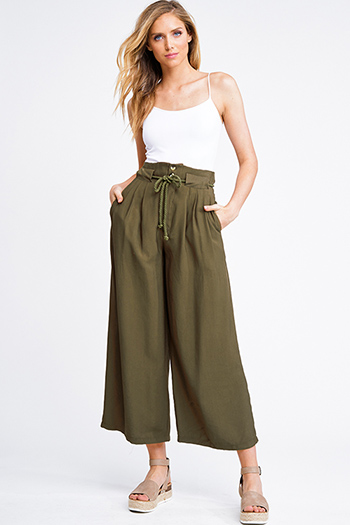 $20 - Cute cheap olive green stripe long sleeve round neck tie front boho top - Olive green paperbag high waisted belted pocketed boho wide leg pintuck trouser pants