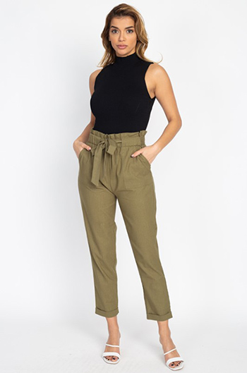 $25 - Cute cheap dark olive green knit long bell sleeve side slit tie boho sweater top - Olive green paperbag high waisted pocketed tie waist tapered harem pants