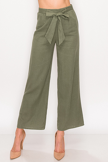 $20 - Cute cheap blue vintage washed denim mid rise distressed floral embroidered fitted straight leg jeans - Olive green paperbag high wasited belted wide leg linen culotte pants