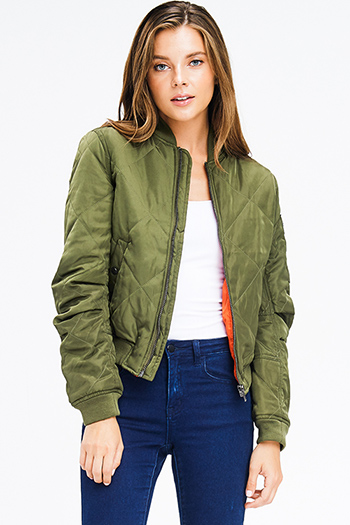 $25 - Cute cheap olive green faux suede leather trim low v neck sweetheart fitted sexy party tunic top - olive green quilted long sleeve zip up pocketed puffer moto bomber jacket