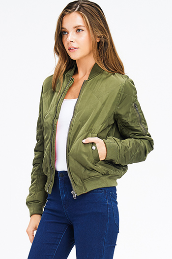 $25 - Cute cheap olive green quilted long sleeve zip up pocketed puffer moto bomber jacket