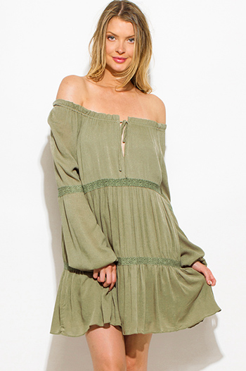 $20 - Cute cheap metallic ruched mini dress - olive green rayon gauze off shoulder crochet lace trim boho peasant mini dress