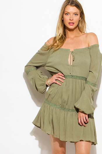 $20 - Cute cheap lace sheer bodycon dress - olive green rayon gauze off shoulder crochet lace trim boho peasant mini dress