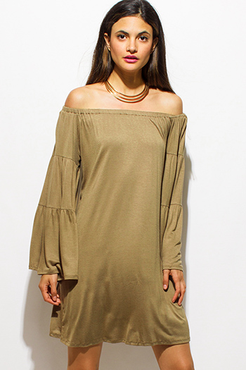 $15 - Cute cheap draped bejeweled dress - olive green rayon jersey off shoulder long bell sleeve boho tiered mini dress