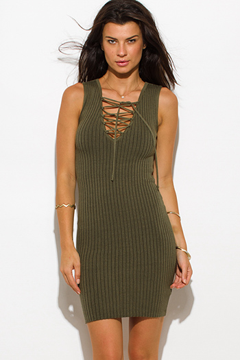$15 - Cute cheap ruched bodycon party dress - olive green ribbed  knit laceup sleeveless fitted bodycon sexy club sweater mini dress