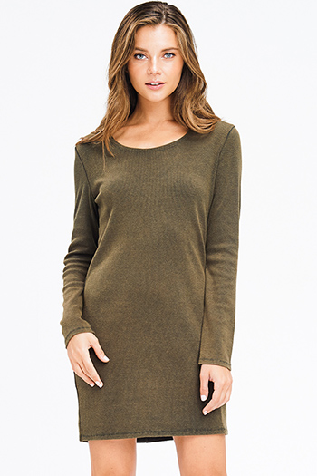 $15 - Cute cheap slit boho mini dress - olive green ribbed knit long sleeve round neck cut out back boho mini dress