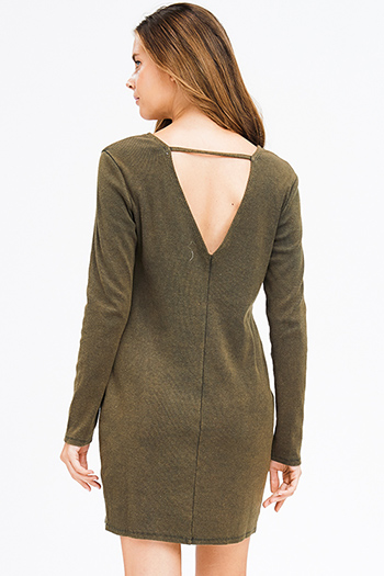 $15 - Cute cheap ethnic print boho dress - olive green ribbed knit long sleeve round neck cut out back boho mini dress