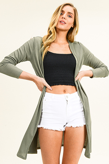 $15 - Cute cheap ribbed dolman sleeve top - Olive green ribbed knit long sleeve slit sides open front boho duster cardigan